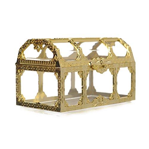 BESTOYARD Hochzeits-Geschenk-Treat-Boxen Kunststoff-Süßigkeit-Kästen Schokoladen-Geschenkbox-Hochzeitsfest-Bevorzugung (Gold)