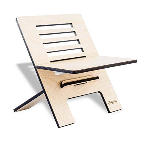 Stehschreibtisch Aufsatz aus Holz - Der höhenverstellbare STANDSOME SLIM Steh Sitz Schreibtisch für ein gesundes Arbeiten im Büro oder ganz egal wo - 2