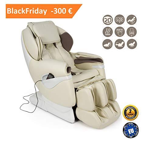 SAMSARA Sillón de masaje 2D - Beige (modelo 2018) - Sillon relax Shiatsu con 5 modos de masaje - Gravedad Cero, presión de aire y calor - USB - Garantía Oficial de 2 AÑOS GLOBAL RELAX® España