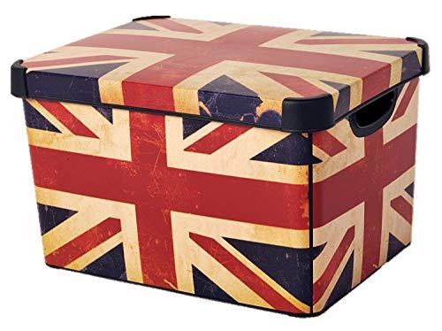 CURVER Stockholm Deco Union Jack 22Liter Große Kunststoff-Aufbewahrungsbox, Mehrfarbig (Jack Box)