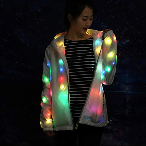 Gmorosa Women MenGlowing Jacket Halloween Waterproof LED Glowing Jackets Coat Hooded Costume Light Up for Party
