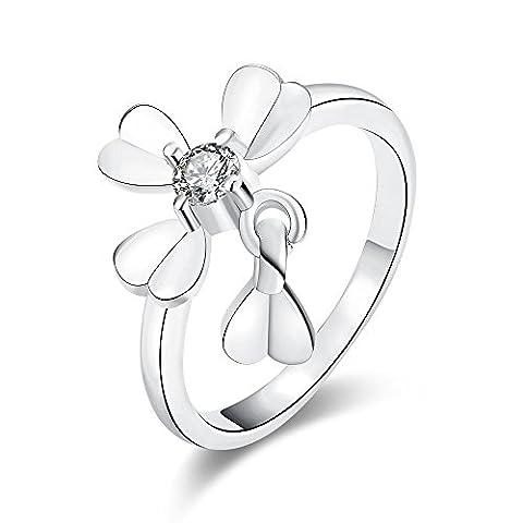 Thumby Plaqué Or Plaqué Platine 3.4g Romantique Cz Bague En Forme De Coeur En Forme De Fleur pour les femmes,white,7