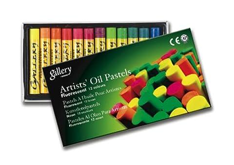 Mungyo Lot de 12 Pastels à huile couleurs 11 x 70 mm Fluorescent/Assorties