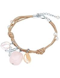 Valero Pearls - Pulsera de cuero con cruz - Cuero - 925 Plata esterlina - Pearl Jewellery, Pulsera de cuero con cruz con Cuarzo rosa, Pulseras, Collar de cuero - 60201606