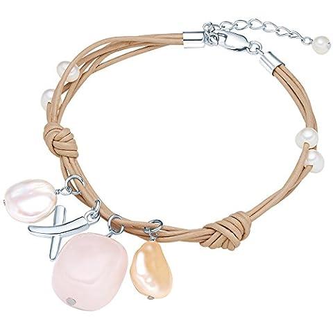 Valero Pearls - Bracelet en cuir véritable croix - Cuir