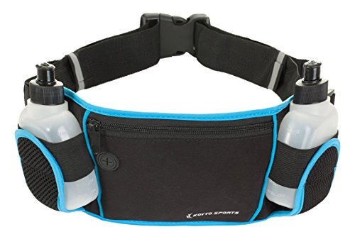 Koyto Sports Running Belt/Waist Pack with 2 BPA free bottles, adjustable belt size and earphones outlet