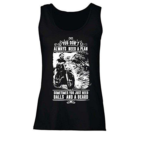 lepni.me Damen Tank-Top Sie brauchen Nicht Immer einen Plan - Motorrad, Liebe zu reiten, großes Geschenk für Biker (Medium Schwarz Mehrfarben)