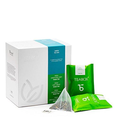Teabox Green Teas Sampler Box | Includes: Earl Grey Tea, Darjeeling Organic Tea, Mint Tea, Jasmine Tea | 4 Teabags...