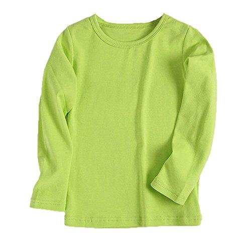 Kinderkleid Honestyi Baby Nette Jungen Mädchen Runder Kragen Lange Hülsen Oberseiten Süßigkeits Clour Familien Kleidung (Grün,130)