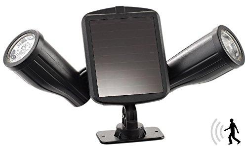 Lunartec Solar Bewegungsmelder: Solar-Strahler mit 2 LED-Lampen und PIR-Sensor, IP44 (Solarstrahler mit Bewegungsmelder)