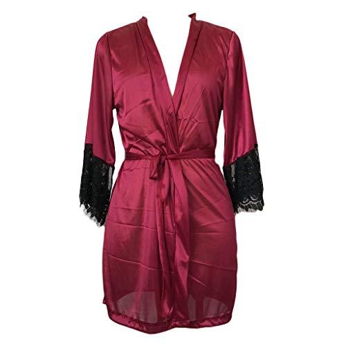 en Sexy Dessous Silk Kimono Dressing Babydoll Spitze Dessous Gürtel Bademantel Nachtwäsche Unterwäsche Lace Bodysuit ()