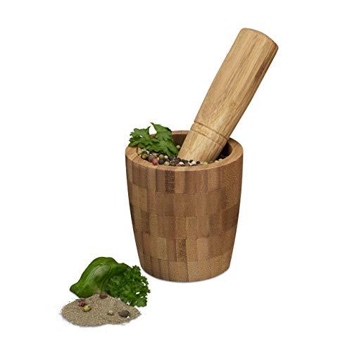 Relaxdays Mortier rond et pilon en bambou mortier à épices herbes en bois de bambou qualité HxlxP: 10,5 x 10 x 10 cm
