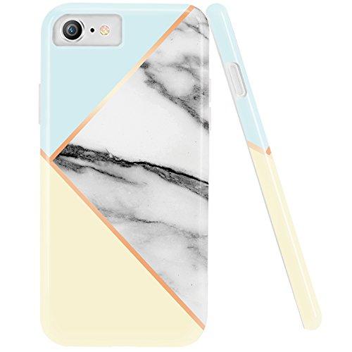 iPhone 6Plus Case, iPhone 6S Plus Fall, doujiaz Marmor Design Transparent Bumper TPU Soft Case Gummi Silikon Skin Cover für Normale 11,9cm iPhone 66S Plus, Geometric - Mint