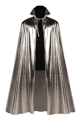 Thetru Party-Umhang in Silber | Einheitsgröße Erwachsene |Metallic-Umhang für Damen zu Karneval und Fasching (Silber)