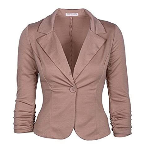 Vertvie Femme Veste Costume de Loisir Casual Single-Breasted Haut de Tailleur Slim Blazer Bouton (M, Kaki)