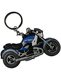 Techpro Soft Rubber Keychain Double Sided With Blue Royal Enfield Bike Design