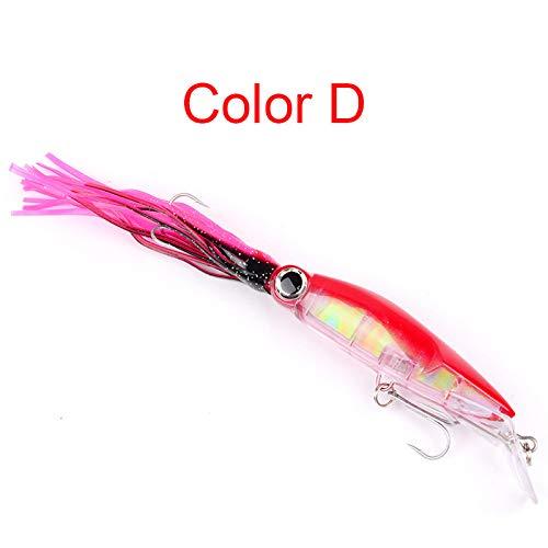 (XuBa 14 cm Fischköder Kunstköder Plastikbart Tintenfisch Hartköder 40 g Fake Fish Köder für Meerwasserangeln, D)