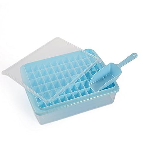 Ice Cube plateaux FDA de qualité alimentaire bac à glaçons Moules 66Grilles DIY Creative Petits moules à glaçons forme carrée plaque de glace Plastique bac à glaçons Fruits machine à glaçons Barre Ustensiles de Cuisine, bleu, A:8cm *2