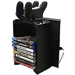 Docooler 2-In-1 Juegos Storage Tower Twin Charging Dock (PS4) Negro