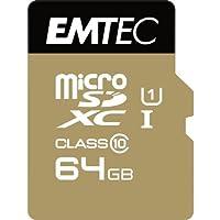 Emtec microSD Class10 Gold+ 64GB Memoria Flash MicroSDXC Clase 10 - Tarjeta de Memoria (64 GB, MicroSDXC, Clase 10, 85 MB/s, Negro, Oro)