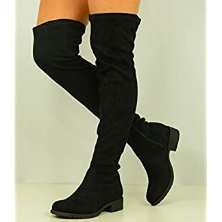 Cucu Fashion Womens Over The Knee Faux Suede Boots Ladies Low Block Heel Zip Shoes Size UK 3-8