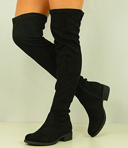Cucu Fashion Womens Over The Knee Faux Suede Boots Ladies Low Block Heel Zip Shoes Size UK 3-8 1