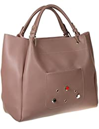Abrazo Fashionable Beige Color Hand Bag For Women's In Good PU Material