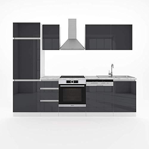 Vicco Küche Optima Küchenzeile Küchenblock Einbauküche 270cm Anthrazit Hochglanz