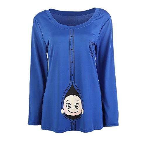 Oyedens Frauen-Mutterschafts-Baby, das T-Shirt späht Lustiges Schwangerschafts-T-Stück, das Mutter-Oberseiten erwartetGröße Schwangere Frauen T-Shirt Lange ärmel niedlich Top