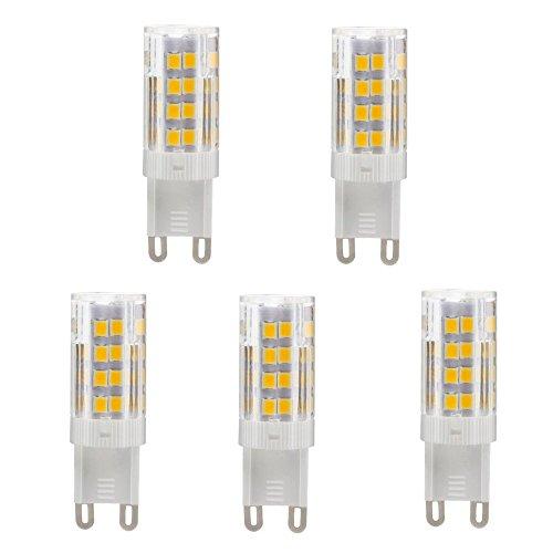 VOYOMO(TM) G9 LED Warmweiss 5W Lampen,Ersatz für 40W Halogen-Lampe,3000-3500K, AC 200-240V, 5er...