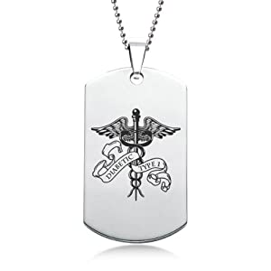 Diabetic Type 1 Scroll Stainless Steel Dog Tag with Gift Box