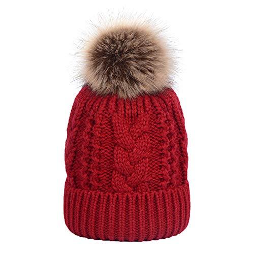 Huichao Chapeaux d'automne et d'hiver pour Hommes et Femmes, Chapeaux en Tricot Double,Red