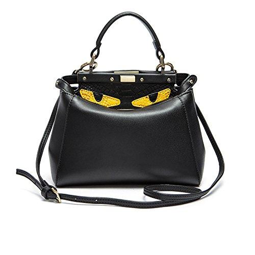 Echtes Leder Top-Griff Tasche Kleines Monster Schloss Schulter Cross-Body Bag Fashion Handtaschen Für Frauen,Black-23 * 10 * 19cm Monster-schloss