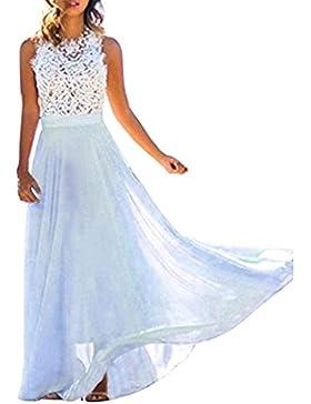 Minetom Estate Donna Vestito Lungo Elegante Senza Maniche Pizzo Chiffon  Vestiti da Sera Vestito da Partito 9b54abf5c04