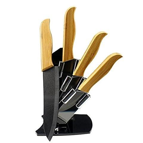 Bluelover Exquisite Bambus Griff Klinge Schwarz Keramikmesser Anzug Mit Halter