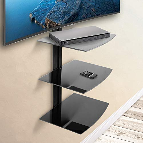 Wandregal TV DVD Wandhalterung | mit 3 Ablageböden aus Glas, bis 24 kg belastbar, in Schwarz | Multimedia Wandregal, Glasregal, HI FI Halterung