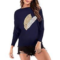 Minzhi Frauen-Feder-Muster-beiläufige Gestrickte T-Shirt Langarm-Pullover-Strickjacke