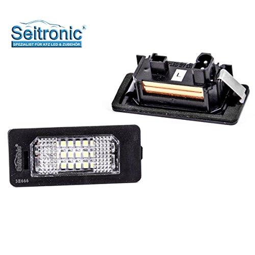 Seitronic Led Kennzeichenbeleuchtung 6000K Xenon-Weiß für Ersatz Nummernschilder Lampe Plug & Play SMD Kennzeichen Beleuchtung 12V DC 2 Stück Energieklasse A+