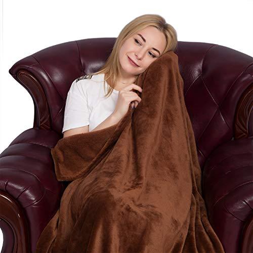 Flanell Fleece-Decke, weiche und gemütliche Throw für Bett Couch Sofa, Braun (Chenille Bettdecke)