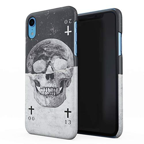 Schwarz & Weiß Realistic Human Skull Card Dünne Rückschale aus Hartplastik für iPhone XR Handy Hülle Schutzhülle Slim Fit Case Cover