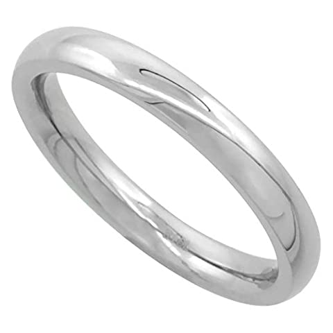 Surgical Steel 3mm Domed Comfort Fit Wedding Band Thumb / Toe Ring High Polish,