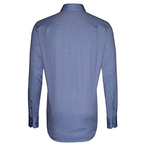 Seidensticker Herren Langarm Hemd Splendesto Regular Fit French Kent blau strukturiert mit Piping 189410.15 Blau