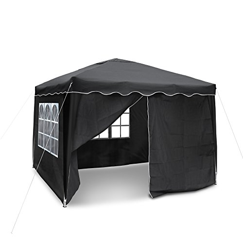 JOM Gartenpavillon, Falt-Pavillon 3 x 3 m, Material Oxford 200D schwarz mit Seitenwänden und Tasche
