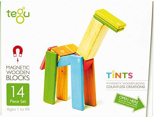 14 Stück Tegu Magnetisches Holzblock-Set - Farbig (Magnetische Holz Bausteine)