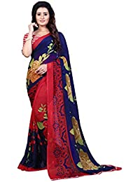 Anand Sarees Women's Faux Georgette Printed Blue Color With Blouse Piece ( 1336 )