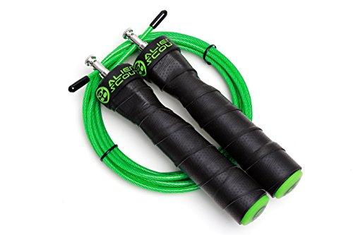Springseil Speed Rope von Alien Scout - Professionelles, einstellbares Hochgeschwindigkeits-Springseil - Kugellager und Anti-Rutsch-Griffe - für Boxen, CrossFit, MMA und Fitness – Extra-Seil MEHRWEG