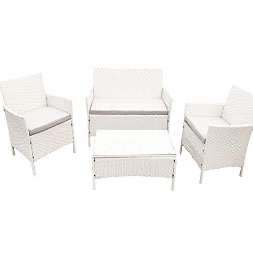 Set Completo Sofà Sorrento White Smart Bianco in Poly Rattan Arredo Giardino Bar Piscine per esterno, Tavolo + due poltrone Relax + Panchina 2 posti con cuscini imbottiti