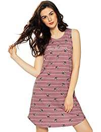 ... Clothing   Accessories   Women   Sleep   Lounge Wear   Nighties    Nightdresses   2XL. ZEYO Women s Cotton Grey   Judy Rose Stripe Print Short  Nighty 6a9165d45