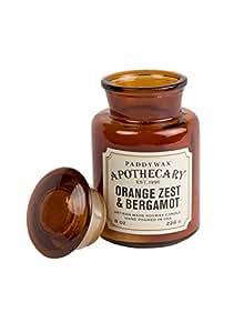 Paddywax–Ambre–Collection apothicaire Luxe Fine Bougie parfumée en cire de soja–Artisan–Coulée à–60Heures–Recyclable Ambre Bouteille apothicaire–Zeste d'orange & Bergamote