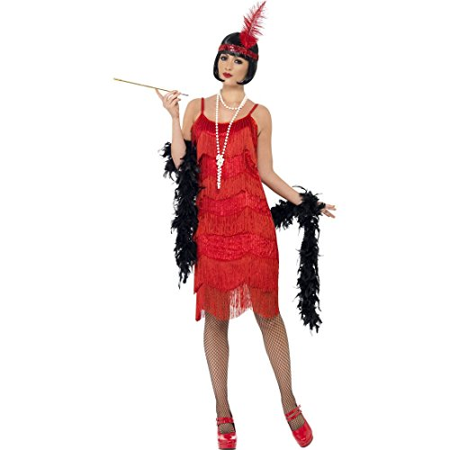 NET TOYS Années 20 Charleston Déguisement Rouge Robe à Franges Costume de Charleston Robe Années Folles Robe Charleston S 38/40